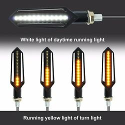 4x Motorcycle LED Turn Signal Light Sequential Flowing Indicator Amber + White