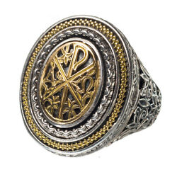 Gerochristo 2969n Chi Rho-chrismon - Solid Gold And Silver Medieval Poison Ring
