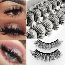 10 Pairs Thick False Eyelashes Black Terrier Cross Exaggerated Smoke Makeup Chic