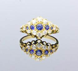Vintage Sapphire And Diamond Gallery Ring