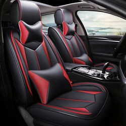 5-seats Luxury Car Seat Covers Pu Leather Protector+cushions+ Headrests Pillow