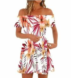 Women Dresses Off Shoulder Floral Short Sleeve Strapless Summer Beach Small $21.99