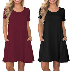 Womens Summer Casual T Shirt Dresses Short Sleeve Loose Swing Dress with Pockets $13.99