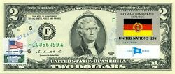 2 Dollars 2013 Stamp Cancel Flag Of Un From Germany Lucky Money Value 125