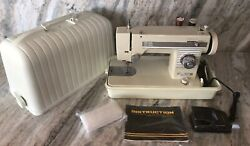 White Deluxe Zig Zag Sewing Machine-very Clean And Fully Serviced Vintage Rare
