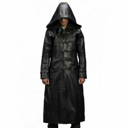 Menand039s Huntsman Black Hooded Leather Trench Coat - All Sizes