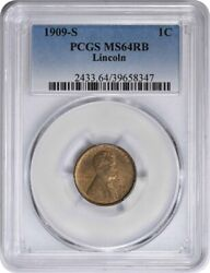 1909-s Lincoln Cent Ms64rb Pcgs