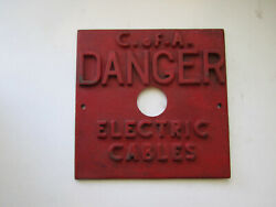 Vintage Cast Iron Industrial Sign Plaque High Relief Danger Electric Cables