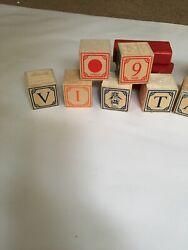 Vintage Children's Wood Toy Alphabet And Picture Building Blocks 12pc Lot+ 3 Red B