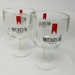 Two Vintage Michelob Footed Beer Glasses Clear Thumbprint Stemmed Goblet