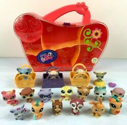 Littlest Pet Shop Bulk Lot of 17 Figurines & Carry Case 2004-2012 Hasbro Toys