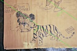 Original Art Drawing 1908 Chicago Cubs World Series Inked Detroit Tigers Signed