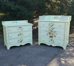 Antique Dresser And Chest Of Drawers Early American Hand Painted Set 2 Pc Bureaus