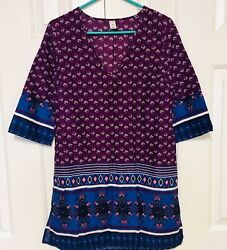 Old Navy Tunic Top Voile Cotton Purple Tribal IKAT Paisley Floral Bohemian Small