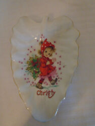 Vintage Lefton China Hand Painted Porcelain Leaf Dish Girl And Holly Dish