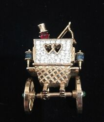 Vintage Trifari Signed Jewel Encrusted Carriage Driver PinBrooch