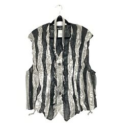 Vintage Issey Miyake Men's Crinkled Striped Polyester Vest And Tie Size M - New