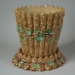 Majolica Picket Fence And Vine Jardiniere And Stand