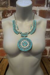 1970's Jw Sterling Silver And Turquoise Sun Wheel Navajo Native American Necklace