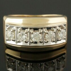 Heavy Two Tone Solid 14k Gold And 1.10 Cttw Diamond Estate Cigar Band Ring