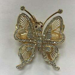 Flexible Butterfly Pin / Brooch With Diamonds And Ruby Eyes