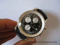 BREITLING 18K SOLID WHITE GOLD NAVITIMER LIMITED EDITION CHRONO WATCH SERVICED!