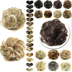 As Real 100% Human Curly Messy Bun Hair Piece Scrunchie Hair Extensions US Post