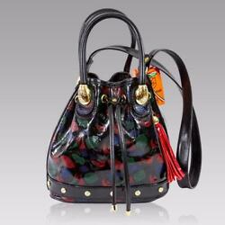 Marino Orlandi Italian Designer Picasso Fishes Painted Leather Bucket Sling Bag