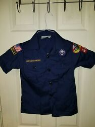 Boy Scout Bsa Youth Small Blue Shirt With Patches