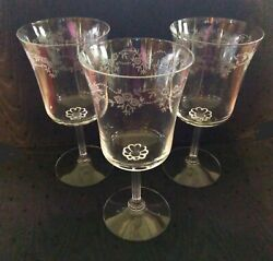 3 Fostoria Clear Crystal Poetry Water Goblets Stemware Glasses Etched Floral