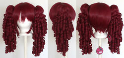 18and039and039 Ringlet Curly Pig Tails + Base Burgundy Red Cosplay Lolita Wig New