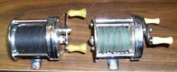 Antique Estate Lot Of Two Fishing Reels Bronson Commander And Shakespeare Nice Lot
