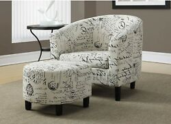 Accent Chair Ottoman Set Club Vintage French Fabric Arms Dorm Room Hobby Padded