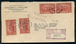 1914, Unusual 4¢ Parcel Post Q4x4 To Pay Registered Mail Rate, From Lebanon Pa