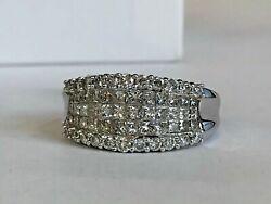 14k White Gold And 1.75ct Diamond Ring Womenandrsquos Fine Jewelry Size 7