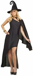 Womens Sexy Black Wizard Witch Costume Fancy Dress Hat Halloween Adult S M L NEW