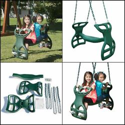 Glider Swing Dual-ride Plastic Surface Mounted With Plastisol Coated Chains