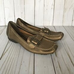Bare Traps Womens Padora Loafer Shoes Bronze Flat Comfort Slip On Buckle 7 M