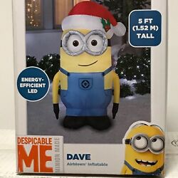 New In Box Despicable Me Dave With Santa Hat Christmas Inflatable 5 Ft Tall