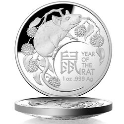 Australia 2020 Lunar Year Of The Rat 5 1oz Fine Silver Proof Domed Coin Ram