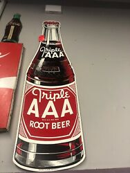 Rare Vintage Stout Sign Co Triple Aaa Root Beer Sign