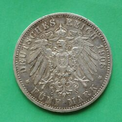 1908a Germany Silver 5 Mark Coin Berlin Mint Sno51785