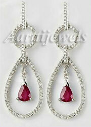 1.86ct Diamond Ruby 14k White Gold Wedding Earrings Shop Early And Save