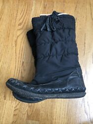 Diesel Winter Boots Black Puffer Laces Calf High Women's Size 8.5