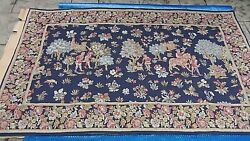 Early 20c French Wall Tapestry Of Hunting Scene With Men On Landscape 86 X 54