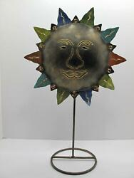 Unique Tin Sun Candle Holder Metal 15quot; Tall Candle Stand Includes Candle 821