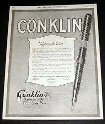 1919 Old Magazine Print Ad, Conklin Fountain Pens, One Hundred Percent Right