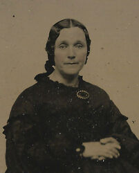 Civil War Era 1/6 Plate Ambrotype Photograph Old Lady Mourning