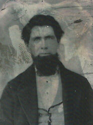 Civil War Era Ambrotype Photograph Strong Soldier Style Bearded Man