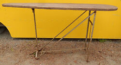 Kahn N.y. Antique Wooden Ironing Board Cast Iron Folding Legs - Display Table